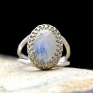 Shop Rainbow Moonstone Rings! Rainbow Moonstone ring,silver ring,unique ring,rainbow ring,birthday gift,faceted oval ring,gemstone ring | Natural genuine Rainbow Moonstone rings, simple unique handcrafted gemstone rings. #rings #jewelry #shopping #gift #handmade #fashion #style #affiliate #ad