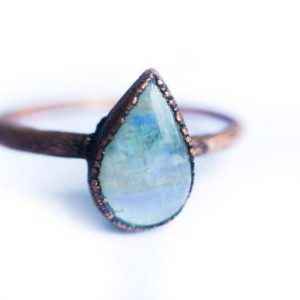 Shop Healing Gemstone Rings! Rainbow moonstone ring | Simple stone stacking ring | Tiny moonstone stacking ring | Electroformed mineral jewelry | Organic stone jewelry | Natural genuine Gemstone rings, simple unique handcrafted gemstone rings. #rings #jewelry #shopping #gift #handmade #fashion #style #affiliate #ad