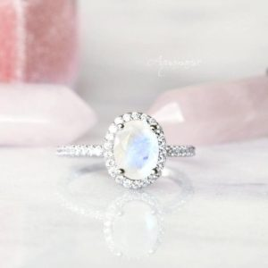 Shop Rainbow Moonstone Rings! Rainbow Moonstone Ring- Sterling Silver Ring- Engagement Ring- Promise Ring- Natural Moonstone- June Birthstone- Anniversary Gift For Her | Natural genuine Rainbow Moonstone rings, simple unique alternative gemstone engagement rings. #rings #jewelry #bridal #wedding #jewelryaccessories #engagementrings #weddingideas #affiliate #ad