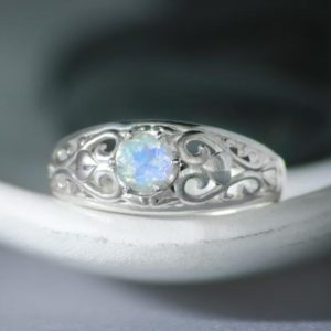 Shop Rainbow Moonstone Rings! Sterling Silver Rainbow Moonstone Promise Ring, Filigree Ring with Hearts | Moonkist Designs | Natural genuine Rainbow Moonstone rings, simple unique handcrafted gemstone rings. #rings #jewelry #shopping #gift #handmade #fashion #style #affiliate #ad