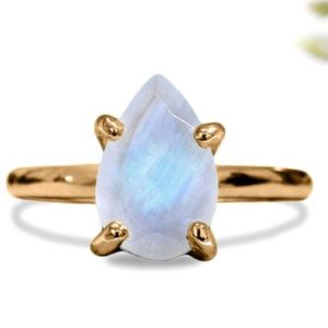 Shop Rainbow Moonstone Rings! Teardrop ring,moonstone ring,rainbow moonstone ring,rose gold ring,14k gold ring,pear stone ring,handmade ring for woman | Natural genuine Rainbow Moonstone rings, simple unique handcrafted gemstone rings. #rings #jewelry #shopping #gift #handmade #fashion #style #affiliate #ad