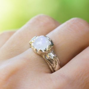 Shop Rainbow Moonstone Rings! Rainbow Moonstone Silver Ring, Witch Jewelry, Spiral Ring, Free form Handcrafted Jewelry | Natural genuine Rainbow Moonstone rings, simple unique handcrafted gemstone rings. #rings #jewelry #shopping #gift #handmade #fashion #style #affiliate #ad