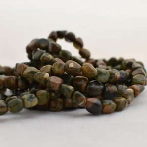 "Shop Rainforest Jasper Beads! High Quality Grade A Natural Rhyolite Semi-precious Gemstone Pebble Tumbled Stone Nugget Beads Approx 7mm-10mm – 15"" Long 