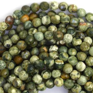 "Shop Rainforest Jasper Beads! 4mm natural faceted green rhyolite round beads 15.5"" strand 36610 