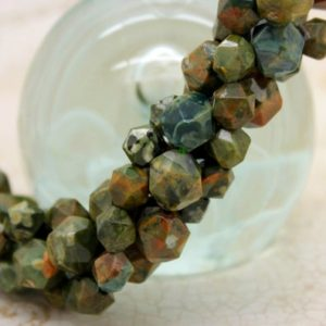 Shop Rainforest Jasper Beads! Green Rhyolite Faceted Round Sphere Natural Gemstone Loose Beads (9mm) | Natural genuine faceted Rainforest Jasper beads for beading and jewelry making.  #jewelry #beads #beadedjewelry #diyjewelry #jewelrymaking #beadstore #beading #affiliate #ad