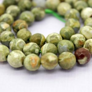 Shop Rainforest Jasper Beads! Rhyolite Faceted Round Ball Sphere Beads Natural Gemstone Loose Beads (4mm 6mm 8mm 10mm) | Natural genuine faceted Rainforest Jasper beads for beading and jewelry making.  #jewelry #beads #beadedjewelry #diyjewelry #jewelrymaking #beadstore #beading #affiliate #ad