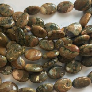 Shop Rainforest Jasper Beads! Natural Rhyolite 18x13x5mm Flat Oval Gemstone Bead 15.5 inch– 1 strand/3 strands | Natural genuine other-shape Rainforest Jasper beads for beading and jewelry making.  #jewelry #beads #beadedjewelry #diyjewelry #jewelrymaking #beadstore #beading #affiliate #ad