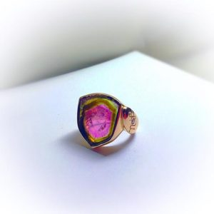Shop Watermelon Tourmaline Rings! Rare Watermelon Tourmaline Ring Set in 18k Rose Gold With Diamond | Natural genuine Watermelon Tourmaline rings, simple unique handcrafted gemstone rings. #rings #jewelry #shopping #gift #handmade #fashion #style #affiliate #ad