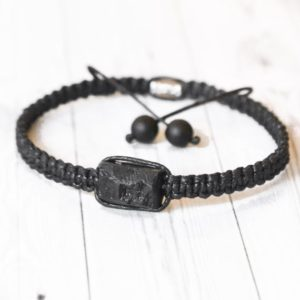 Raw black tourmaline bracelet mens Power macrame cotton beaded armband Birthstone gift for him her | Natural genuine Array jewelry. Buy handcrafted artisan men's jewelry, gifts for men.  Unique handmade mens fashion accessories. #jewelry #beadedjewelry #beadedjewelry #shopping #gift #handmadejewelry #jewelry #affiliate #ad