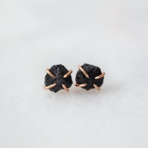 Shop Black Tourmaline Earrings! Raw black tourmaline gemstone stud earrings | sterling silver, 14k yellow gold or rose gold fill | rough black tourmaline earrings | Natural genuine Black Tourmaline earrings. Buy crystal jewelry, handmade handcrafted artisan jewelry for women.  Unique handmade gift ideas. #jewelry #beadedearrings #beadedjewelry #gift #shopping #handmadejewelry #fashion #style #product #earrings #affiliate #ad