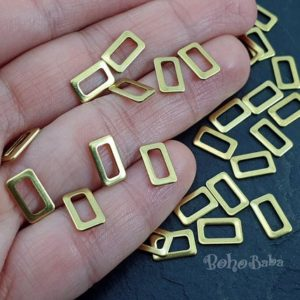 Shop Jewelry Connectors! Raw Brass Rectangle Connectors, Rectangle Charms, Geometric Jewelry, Rectangle Connector Findings, Raw Brass Connector, 30 Pc | Shop jewelry making and beading supplies, tools & findings for DIY jewelry making and crafts. #jewelrymaking #diyjewelry #jewelrycrafts #jewelrysupplies #beading #affiliate #ad