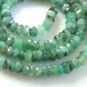 "Raw Emerald Healing Crystal, 3.5-4mm Faceted Rondelle Beads, 7"" strand, B-0111 