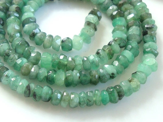 "Raw Emerald Healing Crystal, 3.5-4mm Faceted Rondelle Beads, 7"" Strand, B-0111"