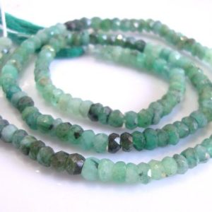 Raw Emerald Healing Crystal, Organic 3-3.5mm Faceted Rondelle Beads, Full strand, May Birthstone,B-0115 | Natural genuine chip Emerald beads for beading and jewelry making.  #jewelry #beads #beadedjewelry #diyjewelry #jewelrymaking #beadstore #beading #affiliate #ad