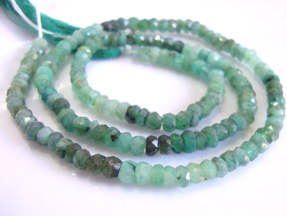 Raw Emerald Healing Crystal, Organic 3-3.5mm Faceted Rondelle Beads, Full Strand, May Birthstone,b-0115