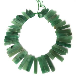 "Shop Aventurine Beads! Raw Green Aventurine Slice Beads, Natural Slab Spike Stick Dagger Tusk Nuggets, Supplies Polished Gemstone Slices 18-50mm 15.5"" 38 pcs 