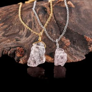 Shop Morganite Necklaces! Raw Morganite Necklace – Genuine – Jewellery – Natural Morganite Pendant – Jewelry -Sterling Silver Chain – Gift for her – Unique Gift | Natural genuine Morganite necklaces. Buy crystal jewelry, handmade handcrafted artisan jewelry for women.  Unique handmade gift ideas. #jewelry #beadednecklaces #beadedjewelry #gift #shopping #handmadejewelry #fashion #style #product #necklaces #affiliate #ad
