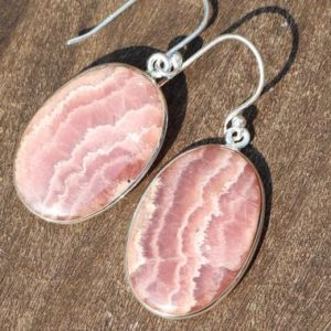Shop Rhodochrosite Earrings! Rhodochrosite, 925 Silver Healing Stone Earrings with Positive Healing Energy! | Natural genuine Rhodochrosite earrings. Buy crystal jewelry, handmade handcrafted artisan jewelry for women.  Unique handmade gift ideas. #jewelry #beadedearrings #beadedjewelry #gift #shopping #handmadejewelry #fashion #style #product #earrings #affiliate #ad