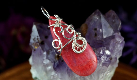 Sterling Silver Pendant With Natural Rhodochrosite Cabochon, Gift For Her Gift For Mom Artisan Handcrafted Wire Wrapped Jewellery For Women