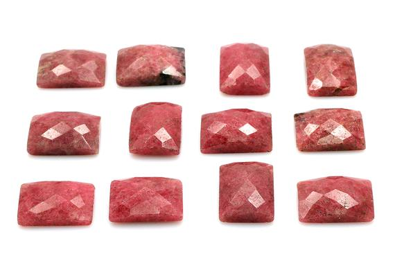 Rhodonite Gemstone,rectangle Cabochon,faceted Cabochon,faceted Gemstone,checkercut Cabochon,natural Rhodonite,aa Quality