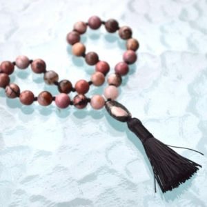 Shop Rhodonite Necklaces! Rhodonite Beads, Knotted Mala Beads, Quarter Mala Necklace – Calming, Emotional Balance, Love, Healing Trauma And Abuse Issues, immune System | Natural genuine Rhodonite necklaces. Buy crystal jewelry, handmade handcrafted artisan jewelry for women.  Unique handmade gift ideas. #jewelry #beadednecklaces #beadedjewelry #gift #shopping #handmadejewelry #fashion #style #product #necklaces #affiliate #ad
