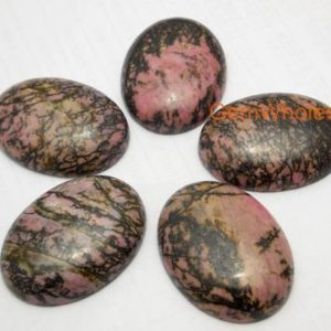 Shop Rhodonite Pendants! Natural Rhodonite plain cabochon sized 30 by 40 mm, oval gemstone pendant, black line rhodonite DIY pendant for necklace, jewelry supply | Natural genuine Rhodonite pendants. Buy crystal jewelry, handmade handcrafted artisan jewelry for women.  Unique handmade gift ideas. #jewelry #beadedpendants #beadedjewelry #gift #shopping #handmadejewelry #fashion #style #product #pendants #affiliate #ad