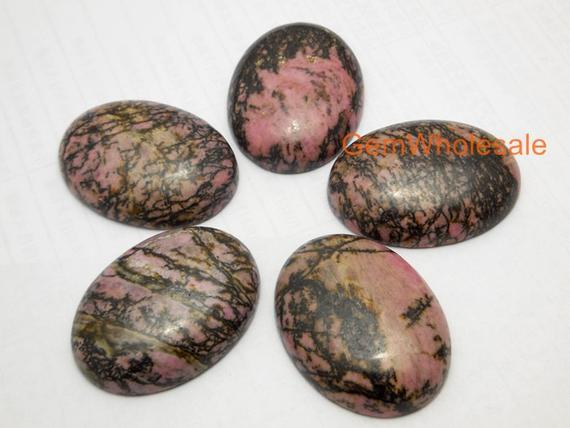 Natural Rhodonite Plain Cabochon Sized 30 By 40 Mm, Oval Gemstone Pendant, Black Line Rhodonite Diy Pendant For Necklace, Jewelry Supply