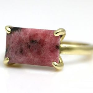 Shop Rhodonite Rings! Rhodonite ring,gold ring for woman,14k gold filled ring,rectangle ring,gemstone ring,pink stone ring,semiprecious ring | Natural genuine Rhodonite rings, simple unique handcrafted gemstone rings. #rings #jewelry #shopping #gift #handmade #fashion #style #affiliate #ad