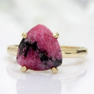 Shop Rhodonite Rings! rhodonite ring,pink ring,trillion ring,gold ring,14k gold filled ring,custom solid gold ring,gemstone ring | Natural genuine Rhodonite rings, simple unique handcrafted gemstone rings. #rings #jewelry #shopping #gift #handmade #fashion #style #affiliate #ad