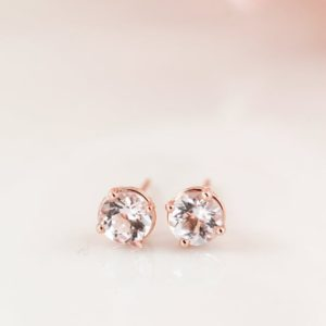 Rose Gold Baby Pink Morganite Studs, Prong Set Round Morganite Stud Earrings, Dainty Morganite Earrings, Graduation gift for Daughter | Natural genuine Gemstone earrings. Buy crystal jewelry, handmade handcrafted artisan jewelry for women.  Unique handmade gift ideas. #jewelry #beadedearrings #beadedjewelry #gift #shopping #handmadejewelry #fashion #style #product #earrings #affiliate #ad