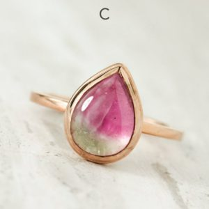 Shop Watermelon Tourmaline Jewelry! Rose Gold Pear Cut Watermelon Tourmaline Ring, Bezel Set Low Profile Ring, Bi Color Tourmaline Ring, Heart Chakra Ring, Gift for Girlfriend | Natural genuine Watermelon Tourmaline jewelry. Buy crystal jewelry, handmade handcrafted artisan jewelry for women.  Unique handmade gift ideas. #jewelry #beadedjewelry #beadedjewelry #gift #shopping #handmadejewelry #fashion #style #product #jewelry #affiliate #ad