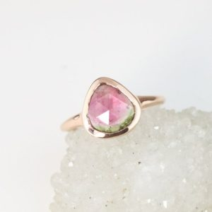 Rose Gold Pear Cut Watermelon Tourmaline Ring, Low Profile Bezel Set Bi Color Tourmaline Ring, Soothing Chakra Ring | Natural genuine Gemstone rings, simple unique handcrafted gemstone rings. #rings #jewelry #shopping #gift #handmade #fashion #style #affiliate #ad