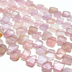 "Shop Rose Quartz Bead Shapes! Rose quartz slices,pink quartz beads,gemstone beads,January birthstone beads,irregular beads,asymmetrical beads,pink beads – 16"" Full Strand 