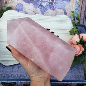 Shop Rose Quartz Points & Wands! Large Rose Quartz Tower, 3.45 lb Rose Quartz Generator for Decor or Crystal Grids 13RT | Natural genuine stones & crystals in various shapes & sizes. Buy raw cut, tumbled, or polished gemstones for making jewelry or crystal healing energy vibration raising reiki stones. #crystals #gemstones #crystalhealing #crystalsandgemstones #energyhealing #affiliate #ad