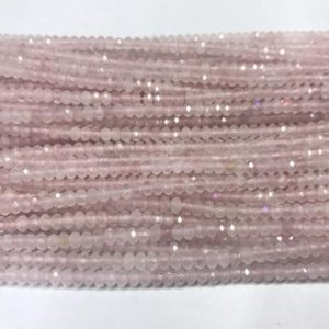 Shop Rose Quartz Beads! Natural Faceted Rose Quartz 3mm / 4mm Rondelle Cut Genuine Crystal Loose Beads 15 inch Jewelry Supply Bracelet Necklace Material Wholesale | Natural genuine beads Rose Quartz beads for beading and jewelry making.  #jewelry #beads #beadedjewelry #diyjewelry #jewelrymaking #beadstore #beading #affiliate #ad