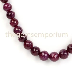 Shop Ruby Round Beads! Ruby Dyed Faceted Round Shape Beads, Natural Corundum Faceted Beads, Dyed Ruby Round Beads Necklace, Ruby Corundum Faceted Round Necklace | Natural genuine round Ruby beads for beading and jewelry making.  #jewelry #beads #beadedjewelry #diyjewelry #jewelrymaking #beadstore #beading #affiliate #ad
