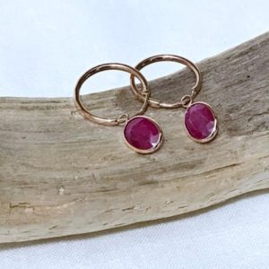 Shop Ruby Earrings! 10k Rose Gold Natural Ruby (3.10 Ct) Hoop Earrings, Appraised 1, 900 Cad | Natural genuine Ruby earrings. Buy crystal jewelry, handmade handcrafted artisan jewelry for women.  Unique handmade gift ideas. #jewelry #beadedearrings #beadedjewelry #gift #shopping #handmadejewelry #fashion #style #product #earrings #affiliate #ad