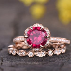 Shop Ruby Jewelry! Ruby Engagement Ring Set Rose Gold Vintage Antique Floral Halo Diamond Wedding Ring Art Deco Wedding Band Full Eternity 14K Bridal Set | Natural genuine Ruby jewelry. Buy handcrafted artisan wedding jewelry.  Unique handmade bridal jewelry gift ideas. #jewelry #beadedjewelry #gift #crystaljewelry #shopping #handmadejewelry #wedding #bridal #jewelry #affiliate #ad
