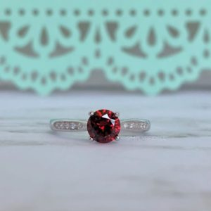 Ruby Engagement Ring Sterling Silver Ruby Ring Simulated Diamonds Red Band Wedding Engagement Anniversary Ring Ruby Ring | Natural genuine Array rings, simple unique alternative gemstone engagement rings. #rings #jewelry #bridal #wedding #jewelryaccessories #engagementrings #weddingideas #affiliate #ad