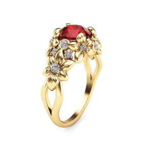 Ruby Floral Engagement Ring 14K Yellow Gold Floral Ring Unique Ruby Engagement Ring Art Nouveau Styled Ring | Natural genuine Array rings, simple unique alternative gemstone engagement rings. #rings #jewelry #bridal #wedding #jewelryaccessories #engagementrings #weddingideas #affiliate #ad