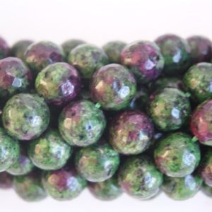 Ruby Zoisite Green and Purple assorted 4mm 6mm,8mm,10mm 12mm Faceted Round Shaped Gemstone Bead -15 inch strand | Natural genuine faceted Ruby Zoisite beads for beading and jewelry making.  #jewelry #beads #beadedjewelry #diyjewelry #jewelrymaking #beadstore #beading #affiliate #ad