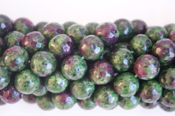 Ruby Zoisite Green And Purple Assorted 4mm 6mm,8mm,10mm 12mm Faceted Round Shaped Gemstone Bead -15 Inch Strand