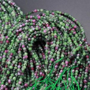 "Micro Faceted Small Natural Ruby Zoisite 2mm 3mm 4mm 5mm Faceted Round Beads Laser Diamond Cut Red Ruby Gemstone 15.5"" Strand 
