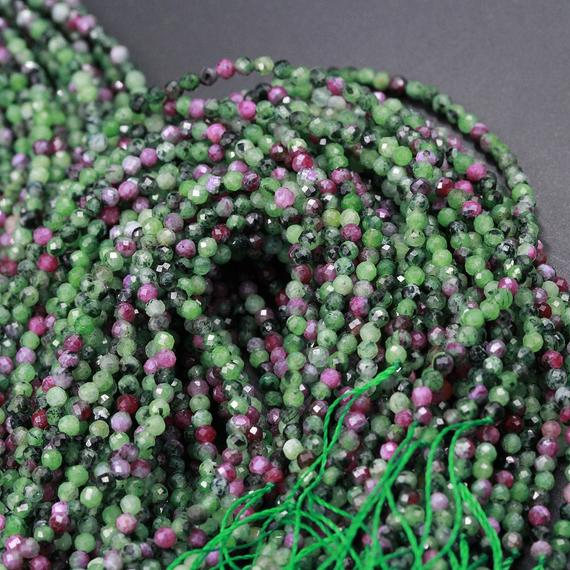"Micro Faceted Small Natural Ruby Zoisite 2mm 3mm 4mm 5mm Faceted Round Beads Laser Diamond Cut Red Ruby Gemstone 16"" Strand"