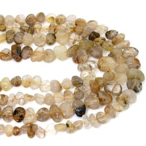 Shop Rutilated Quartz Chip & Nugget Beads! Natural Rutilated Quartz Smooth Rough Freeform Nugget Loose Gemstone Beads – PGS249 | Natural genuine chip Rutilated Quartz beads for beading and jewelry making.  #jewelry #beads #beadedjewelry #diyjewelry #jewelrymaking #beadstore #beading #affiliate #ad