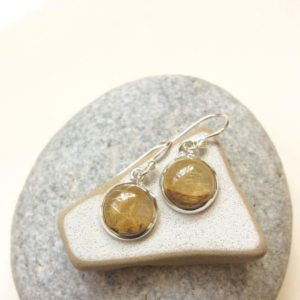 Shop Rutilated Quartz Earrings! Golden Rutile quartz earrings, Golden Rutile silver earrings, Round shape dangle earrings, Gold Rutilated quartz jewelry set, From Israel | Natural genuine Rutilated Quartz earrings. Buy crystal jewelry, handmade handcrafted artisan jewelry for women.  Unique handmade gift ideas. #jewelry #beadedearrings #beadedjewelry #gift #shopping #handmadejewelry #fashion #style #product #earrings #affiliate #ad