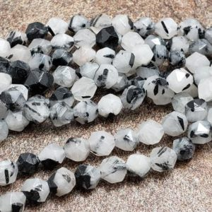 Shop Rutilated Quartz Faceted Beads! 5.5mm or 7.5mm Black Rutile Quartz Star Cut Faceted Beads, 15 inch | Natural genuine faceted Rutilated Quartz beads for beading and jewelry making.  #jewelry #beads #beadedjewelry #diyjewelry #jewelrymaking #beadstore #beading #affiliate #ad