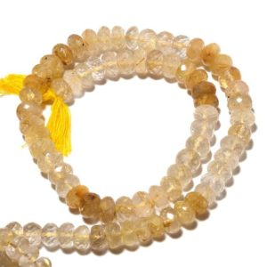 Shop Rutilated Quartz Faceted Beads! 8mm Golden Rutilated Quartz Faceted Rondelle Bead, Gold Rutilated Quartz Rondelles, 7 Inch Half Strand, Sku-S41 | Natural genuine faceted Rutilated Quartz beads for beading and jewelry making.  #jewelry #beads #beadedjewelry #diyjewelry #jewelrymaking #beadstore #beading #affiliate #ad