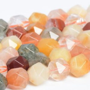 Shop Rutilated Quartz Faceted Beads! Genuine Natural Multicolor Rutilated Quartz Loose Beads Grade A Star Cut Faceted Shape 5-6mm 7-8mm | Natural genuine faceted Rutilated Quartz beads for beading and jewelry making.  #jewelry #beads #beadedjewelry #diyjewelry #jewelrymaking #beadstore #beading #affiliate #ad