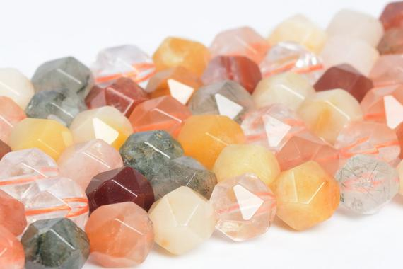 Genuine Natural Multicolor Rutilated Quartz Loose Beads Grade A Star Cut Faceted Shape 5-6mm 7-8mm